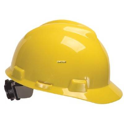 MSA V-GARD® POLYETHYLENE STANDARD SLOTTED CAP STYLE HARD HAT WITH FAS TRAC® 4 POINT RATCHET SUSPENSION