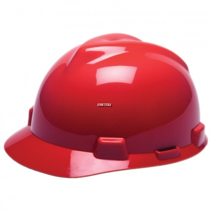 MSA V-GARD® POLYETHYLENE STANDARD SLOTTED CAP STYLE HARD HAT WITH FAS TRAC® 4 POINT RATCHET SUSPENSION - WITH CHINSTRAP
