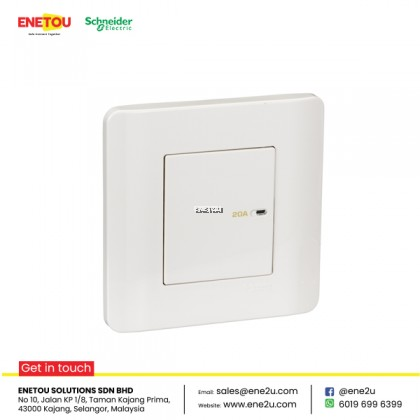 SCHNEIDER ZENCELO E8431D20 20A 1 GANG 1 WAY FULL-FLAT DOUBLE POLE SWITCH WITH NEON WHITE
