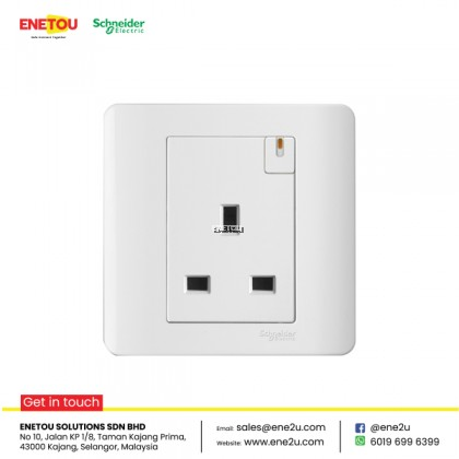 SCHNEIDER ZENCELO E8415 13A 1 GANG SWITCHED SOCKET WITH INDICATOR WHITE