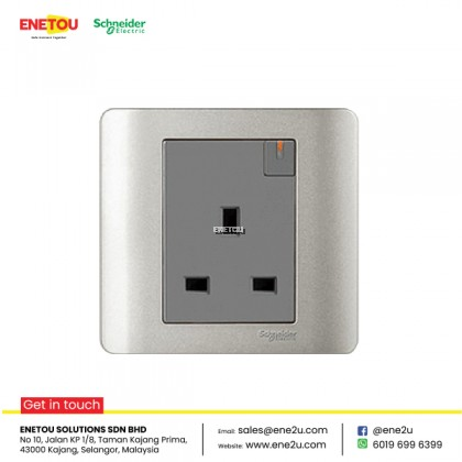 SCHNEIDER ZENCELO E8415 13A 1 GANG SWITCHED SOCKET WITH ONDICATOR SILVER SATIN