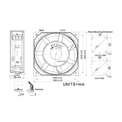 KAKU IP55 KA1238 SERIES LOW SPEED AC FAN 240V 2300/2000 RPM