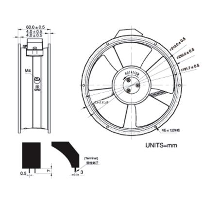 KAKU KA 2206 / PC SERIES AC FAN 240V 2500/2500 RPM