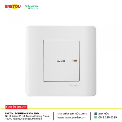 SCHNEIDER ZENCELO E8431 16AX 20A 1 GANG 2 WAY FULLl-FLAT SWITCH WHITE