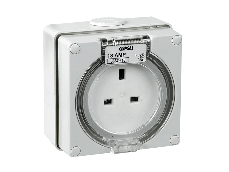 Schneider S56so313 Socket Outlet 3 Pin 250 13a Ip56 Grey