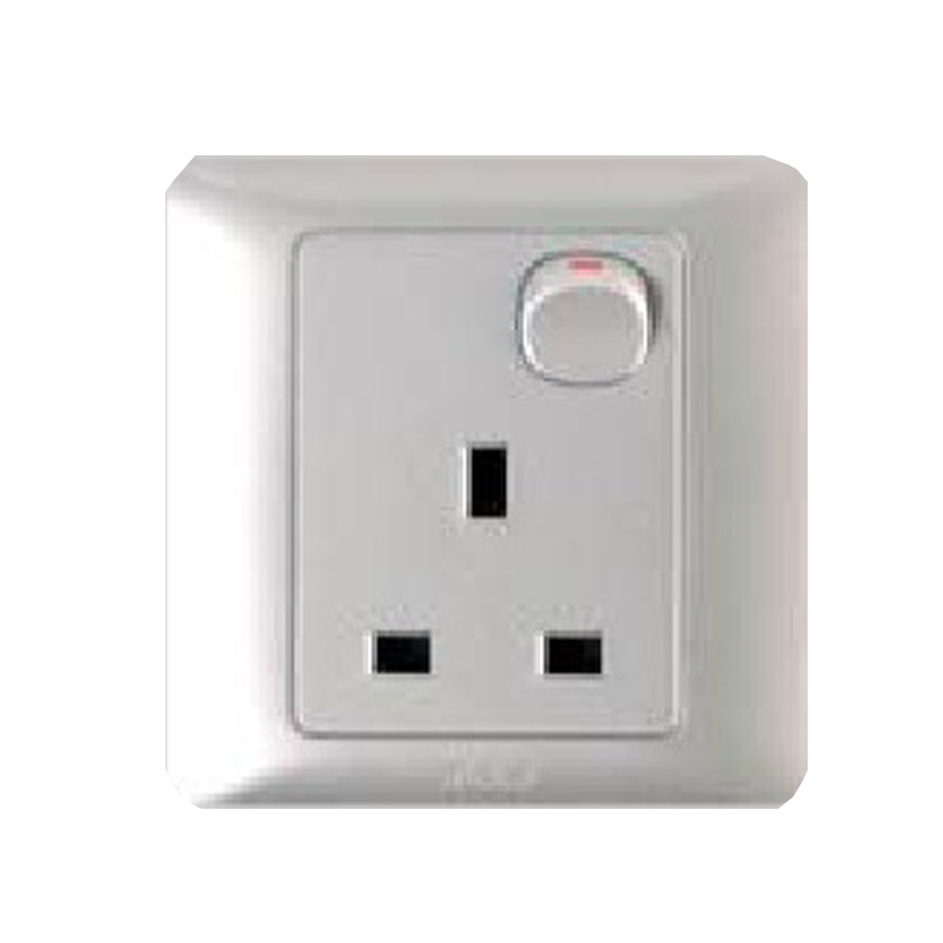 T&J RADIANCE LAQUE 13A 1 GANG SWITCHED SOCKET OUTLET MATT SILVER